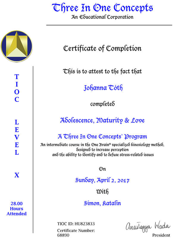 Johanna Tóth - Three In One Concepts - Certificate of Completion